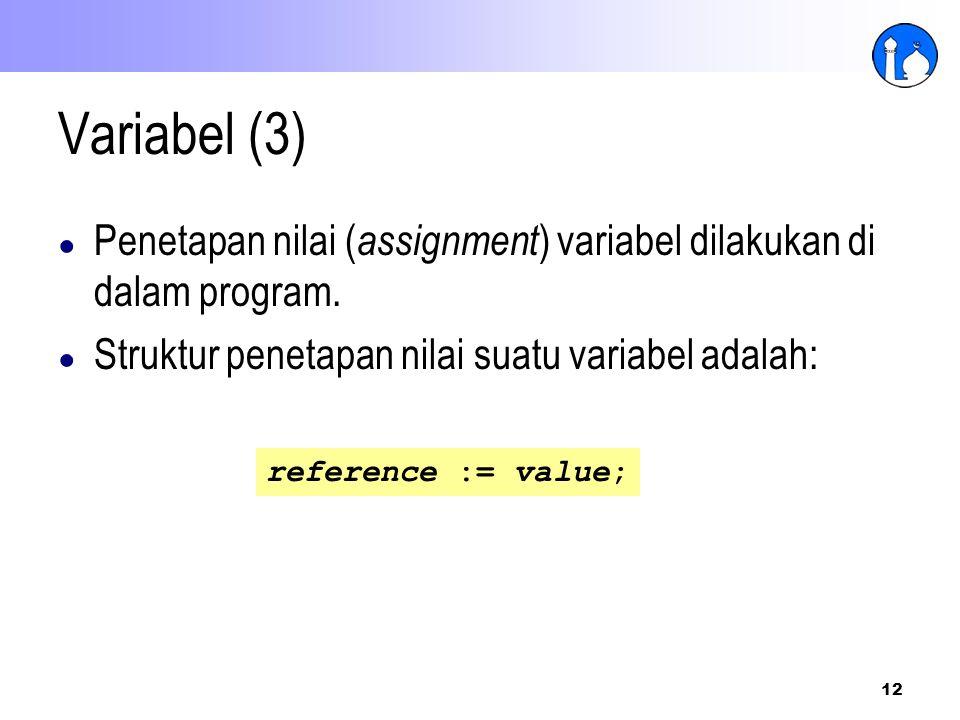 Variabel (3) Penetapan nilai (assignment) variabel dilakukan di dalam program. Struktur penetapan nilai suatu variabel adalah: