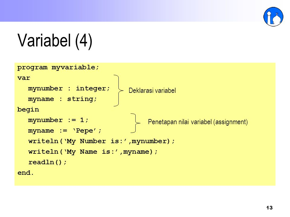 Variabel (4) program myvariable; var mynumber : integer;