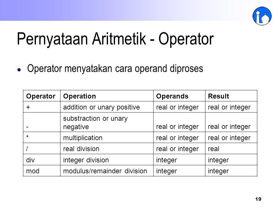 Pernyataan Aritmetik - Operator