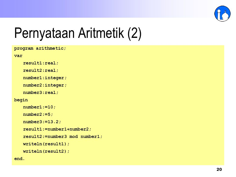 Pernyataan Aritmetik (2)