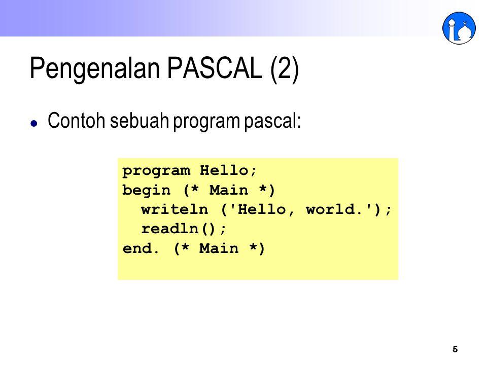 Pengenalan PASCAL (2) Contoh sebuah program pascal: program Hello;