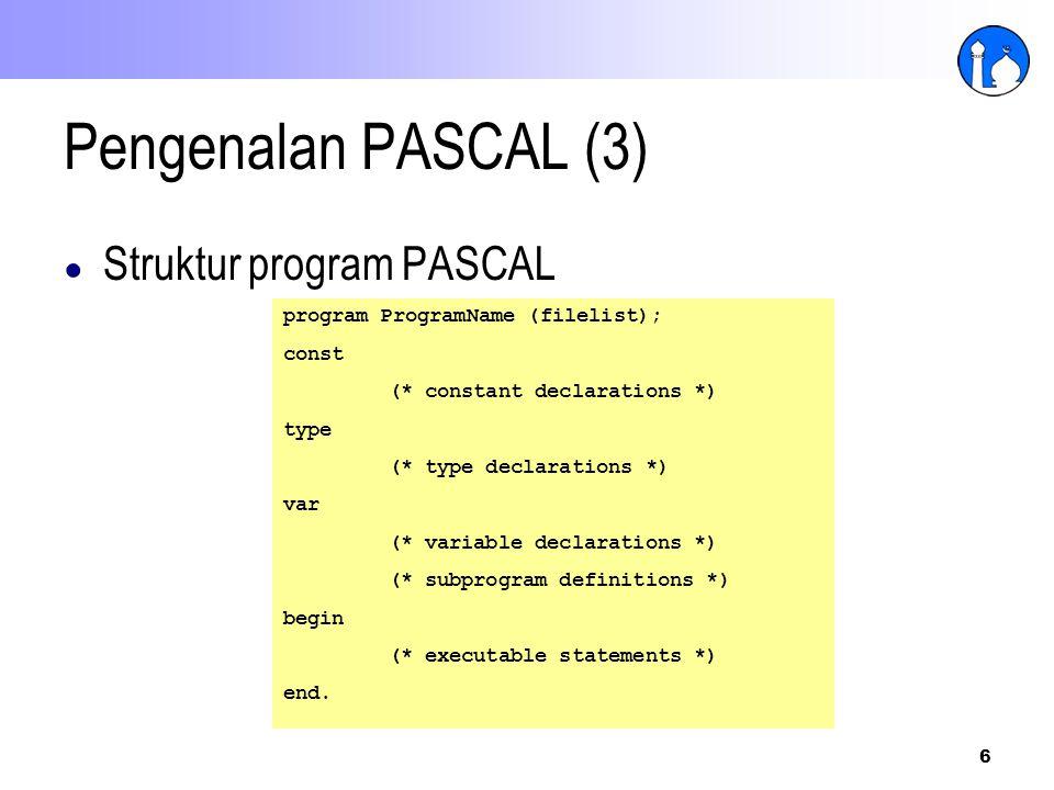 Pengenalan PASCAL (3) Struktur program PASCAL