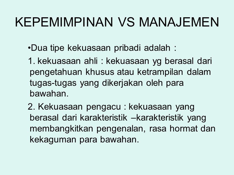 KEPEMIMPINAN VS MANAJEMEN