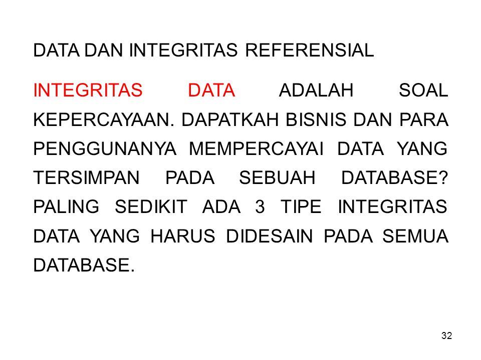 DATA DAN INTEGRITAS REFERENSIAL