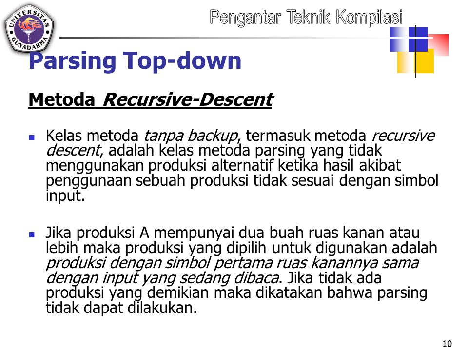 Parsing Top-down Metoda Recursive-Descent