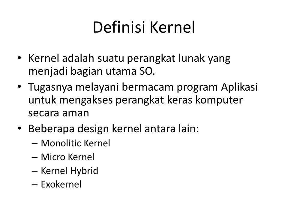 Definisi Kernel Kernel adalah suatu perangkat lunak yang menjadi bagian utama SO.