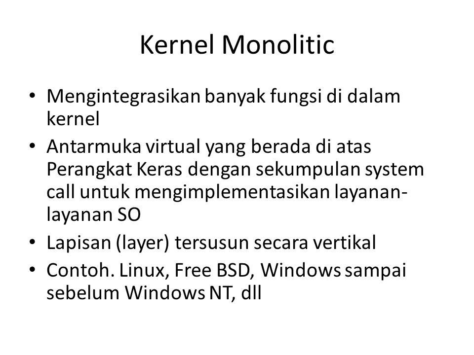 Kernel Monolitic Mengintegrasikan banyak fungsi di dalam kernel