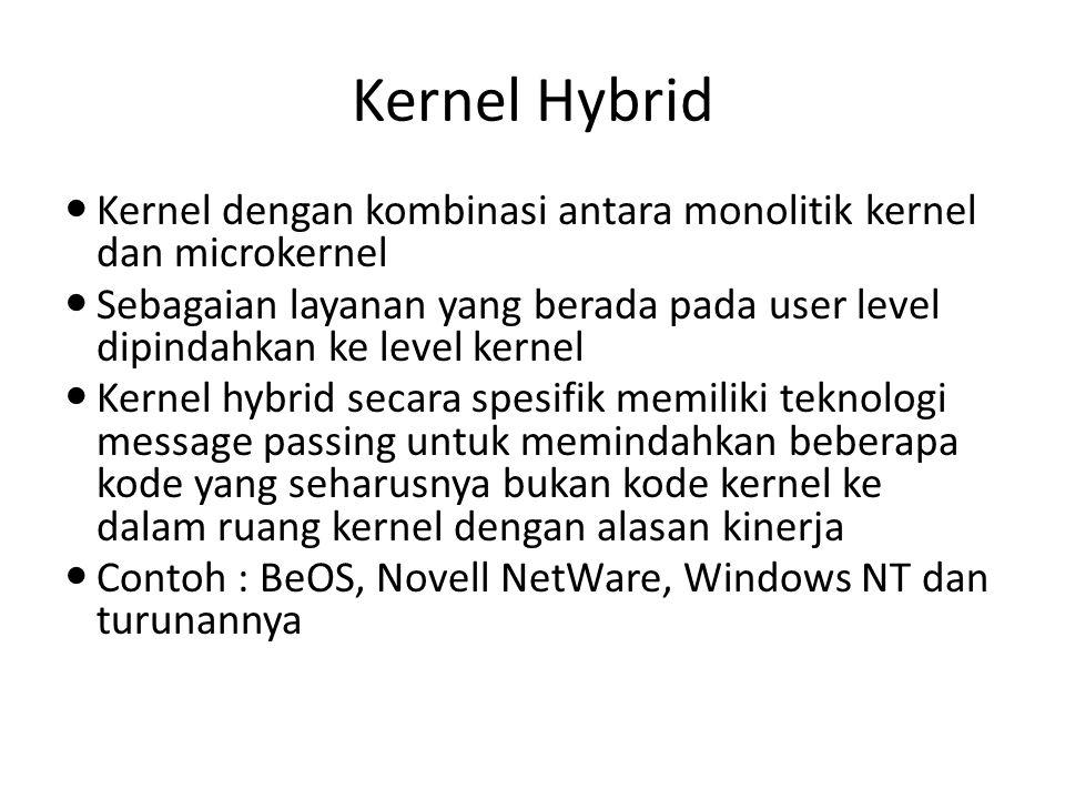 Kernel Hybrid Kernel dengan kombinasi antara monolitik kernel dan microkernel.