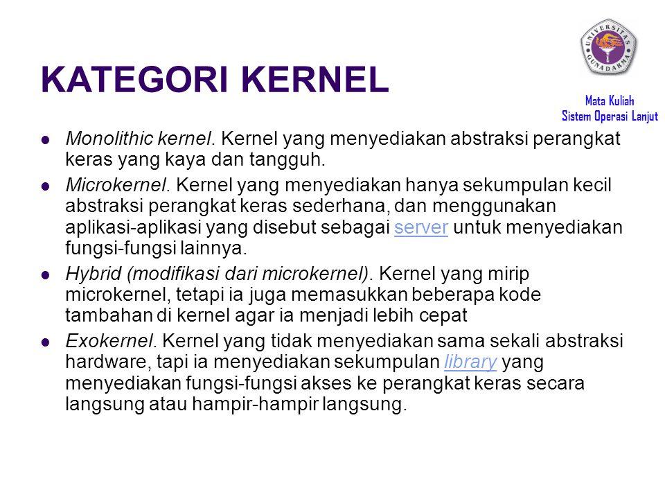 KATEGORI KERNEL Monolithic kernel. Kernel yang menyediakan abstraksi perangkat keras yang kaya dan tangguh.