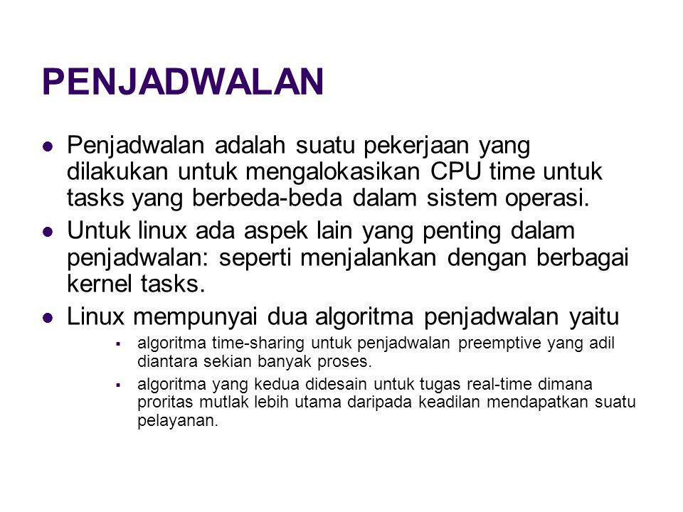 PENJADWALAN Penjadwalan adalah suatu pekerjaan yang dilakukan untuk mengalokasikan CPU time untuk tasks yang berbeda-beda dalam sistem operasi.