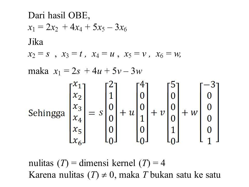 Dari hasil OBE, x1 = 2x2 + 4x4 + 5x5 – 3x6. Jika. x2 = s , x3 = t , x4 = u , x5 = v , x6 = w,