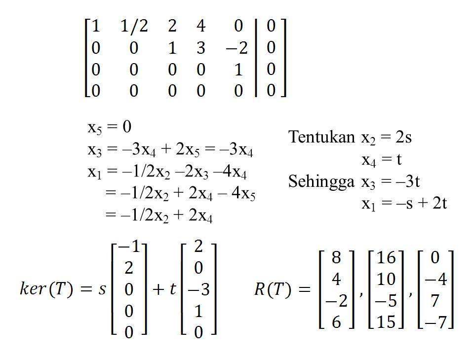 x5 = 0 x3 = –3x4 + 2x5 = –3x4. x1 = –1/2x2 –2x3 –4x4. = –1/2x2 + 2x4 – 4x5. = –1/2x2 + 2x4. Tentukan x2 = 2s.