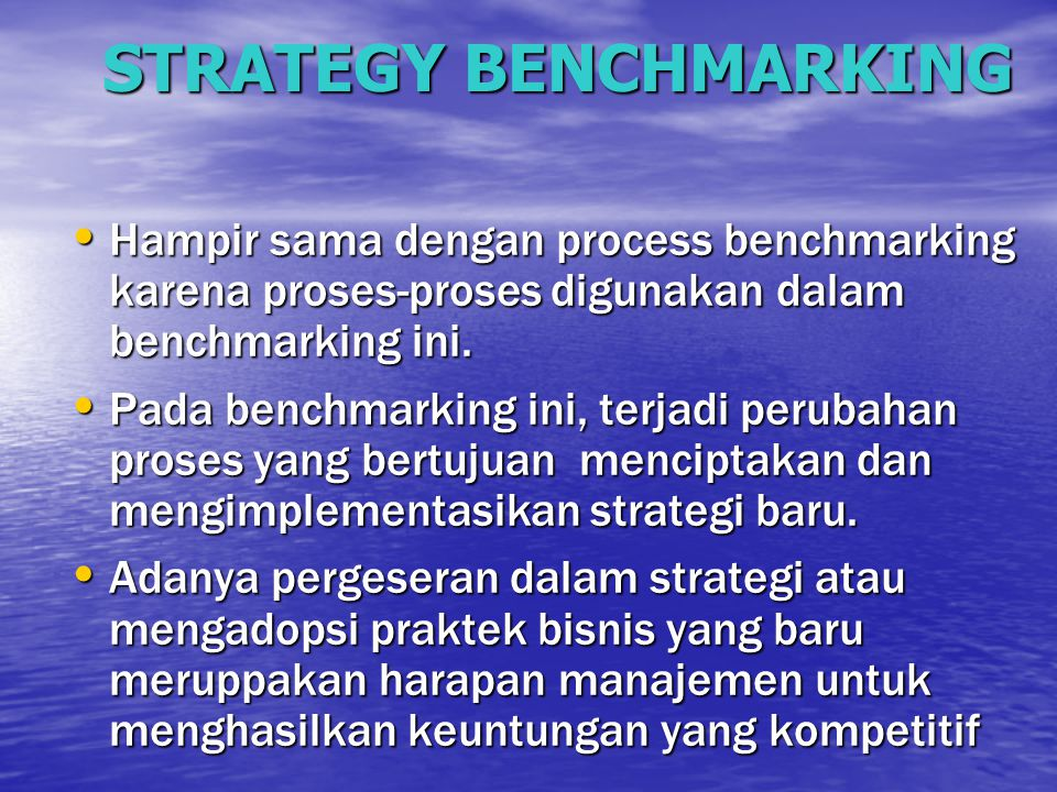 STRATEGY BENCHMARKING
