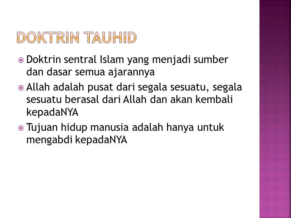DOKTRIN TAUHID Doktrin sentral Islam yang menjadi sumber dan dasar semua ajarannya.
