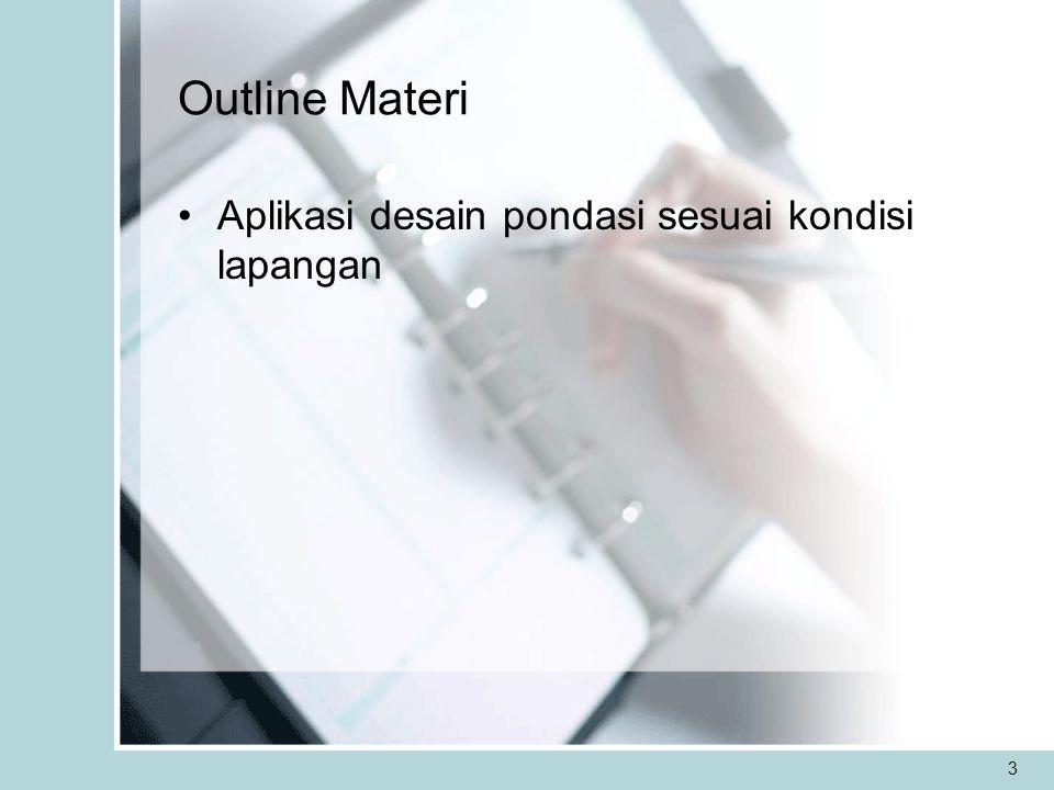 Outline Materi Aplikasi desain pondasi sesuai kondisi lapangan