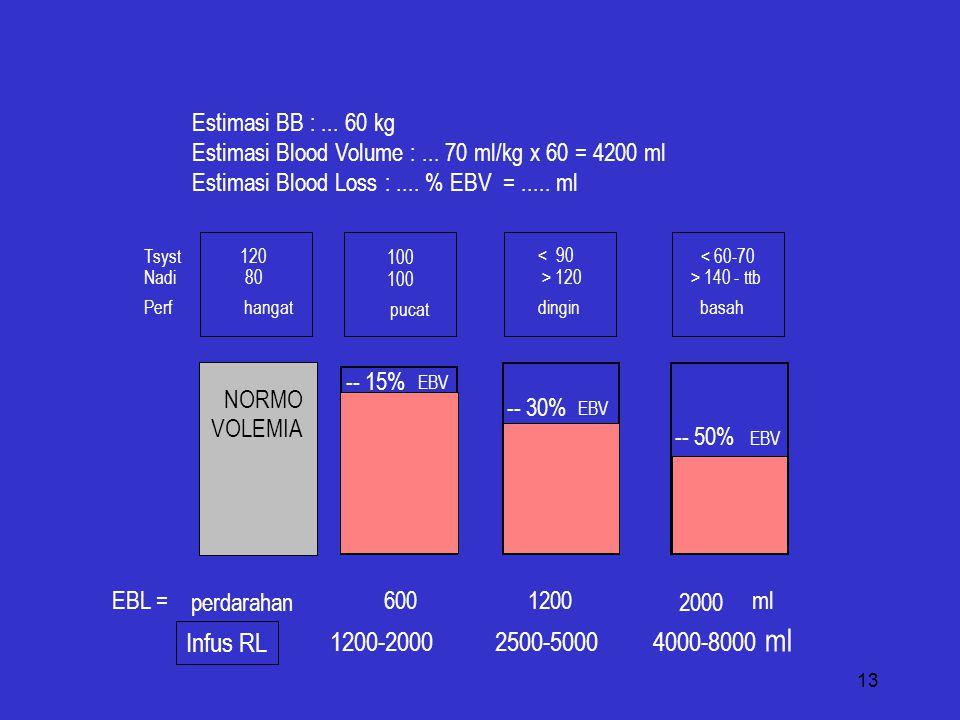 1200-2000 2500-5000 4000-8000 ml Infus RL Estimasi BB : ... 60 kg