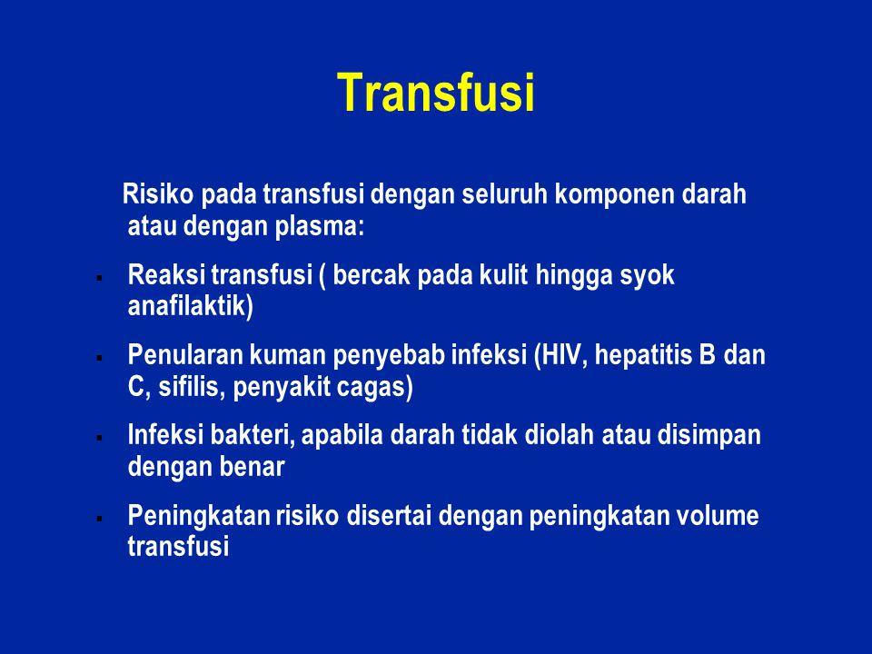 Transfusi Risiko pada transfusi dengan seluruh komponen darah atau dengan plasma: Reaksi transfusi ( bercak pada kulit hingga syok anafilaktik)