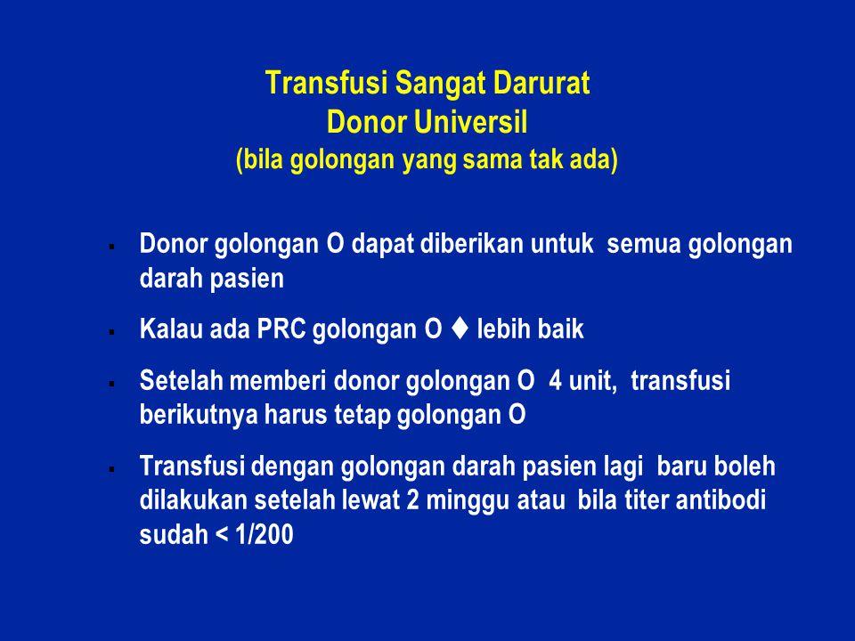 Transfusi Sangat Darurat Donor Universil (bila golongan yang sama tak ada)