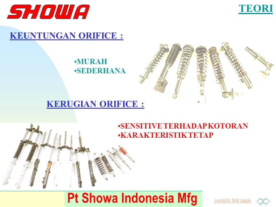 Pt Showa Indonesia Mfg TEORI KEUNTUNGAN ORIFICE : KERUGIAN ORIFICE :