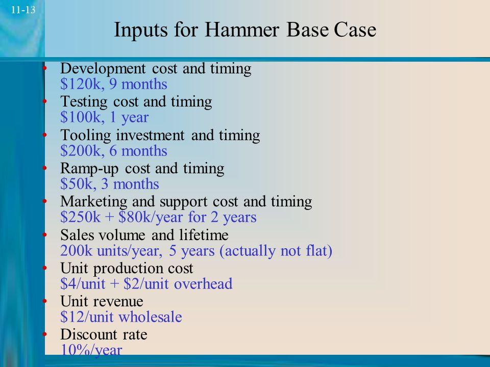 Inputs for Hammer Base Case