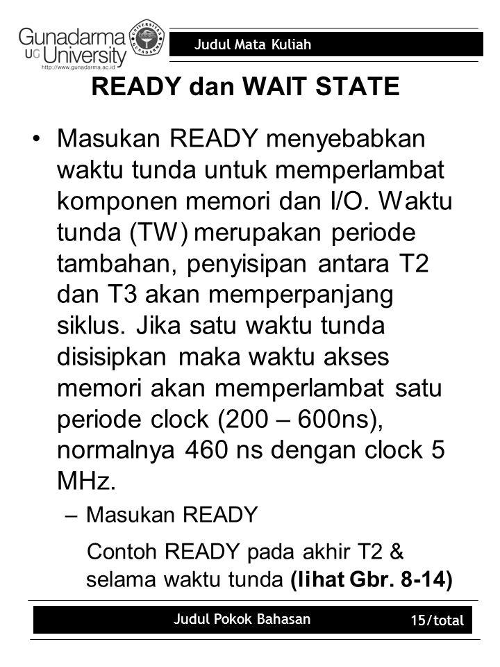 Contoh READY pada akhir T2 & selama waktu tunda (lihat Gbr. 8-14)