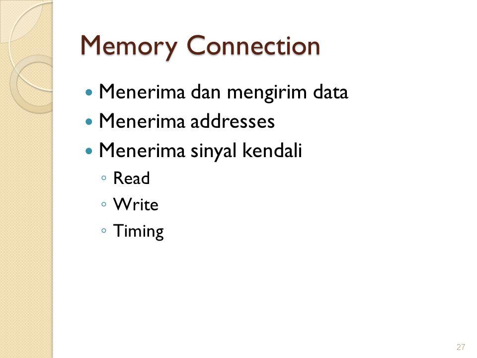 Memory Connection Menerima dan mengirim data Menerima addresses