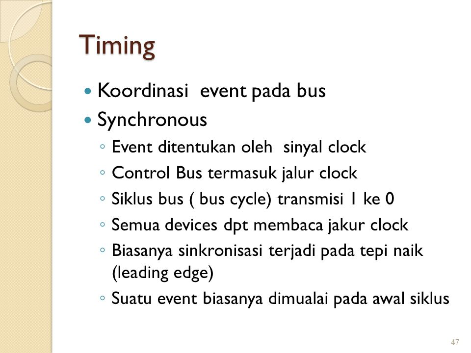 Timing Koordinasi event pada bus Synchronous