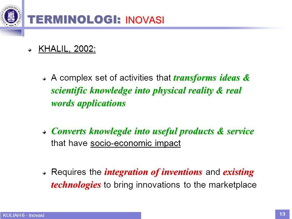 TERMINOLOGI: INOVASI KHALIL, 2002: