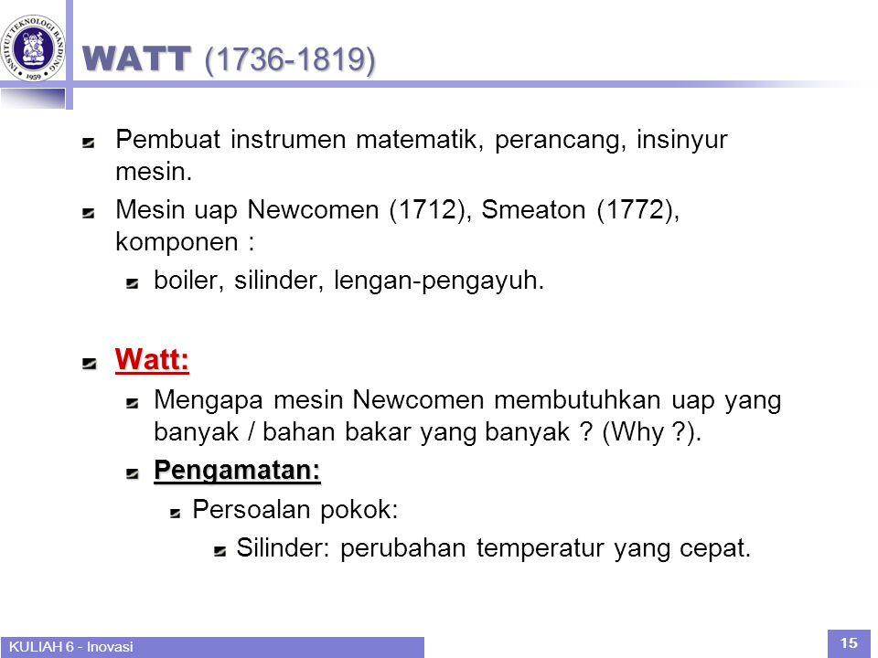 WATT (1736-1819) Pembuat instrumen matematik, perancang, insinyur mesin. Mesin uap Newcomen (1712), Smeaton (1772), komponen :