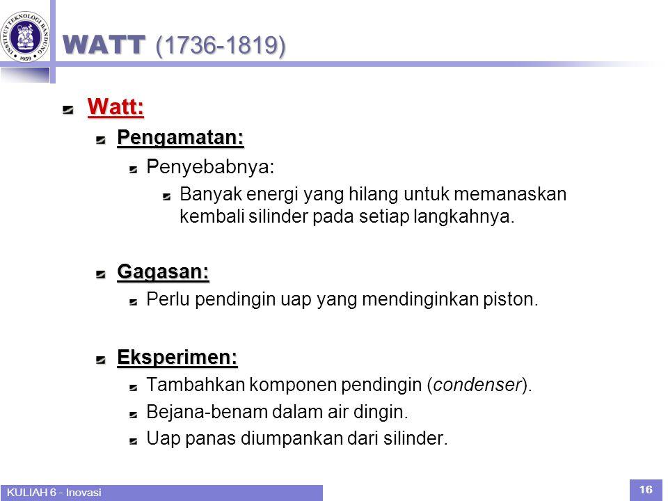 WATT (1736-1819) Watt: Pengamatan: Penyebabnya: Gagasan: Eksperimen: