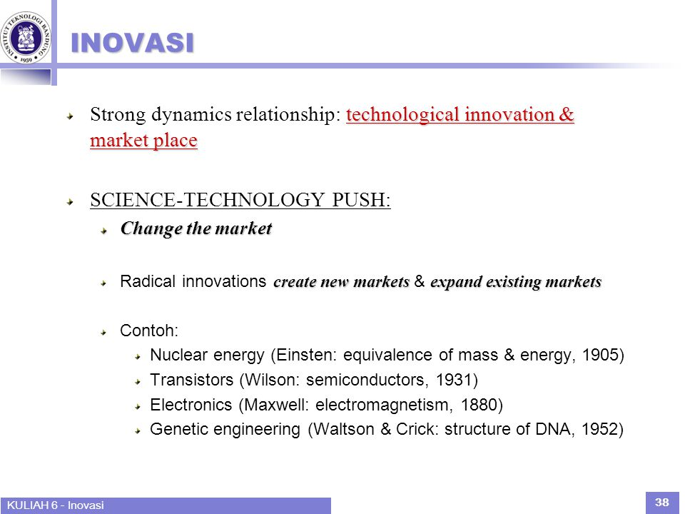 INOVASI Strong dynamics relationship: technological innovation & market place. SCIENCE-TECHNOLOGY PUSH:
