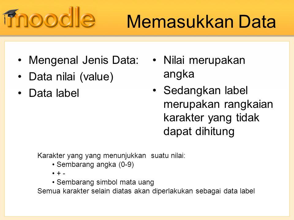 Memasukkan Data Mengenal Jenis Data: Data nilai (value) Data label
