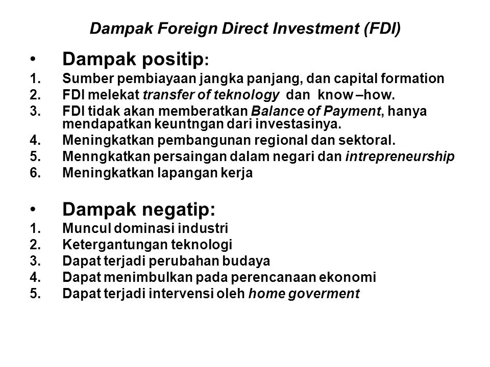 Dampak Foreign Direct Investment (FDI)