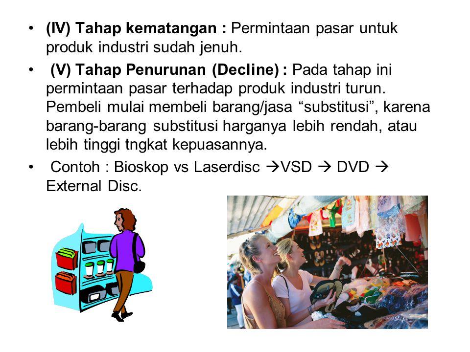 (IV) Tahap kematangan : Permintaan pasar untuk produk industri sudah jenuh.