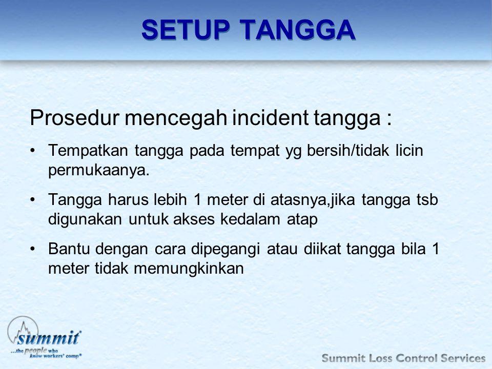 SETUP TANGGA Prosedur mencegah incident tangga :