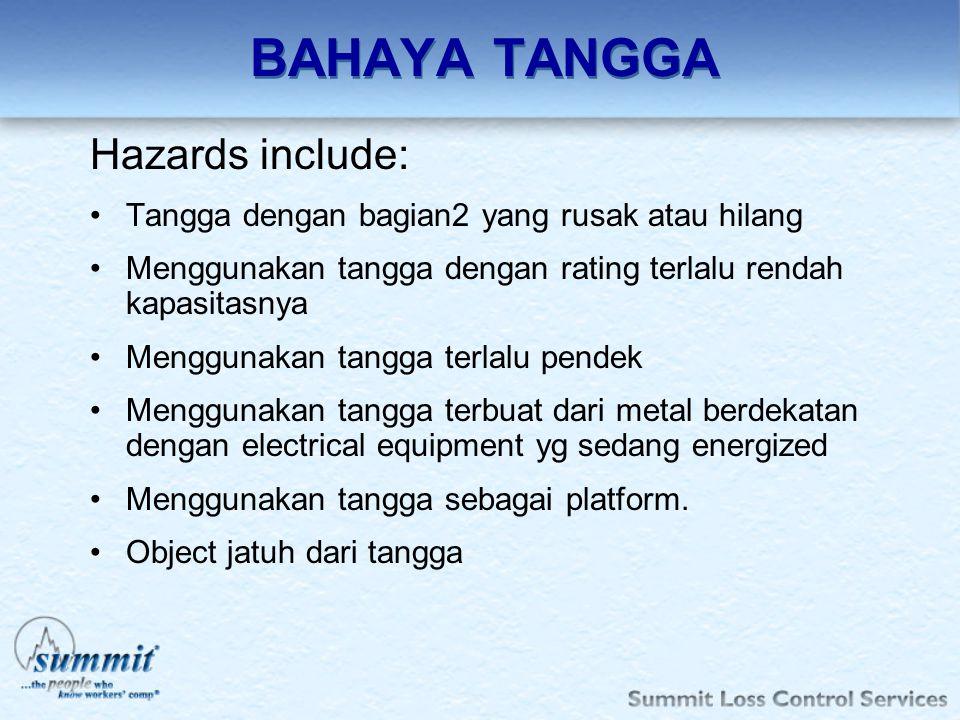 BAHAYA TANGGA Hazards include: