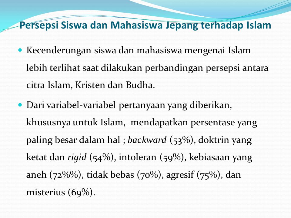 Persepsi Siswa dan Mahasiswa Jepang terhadap Islam