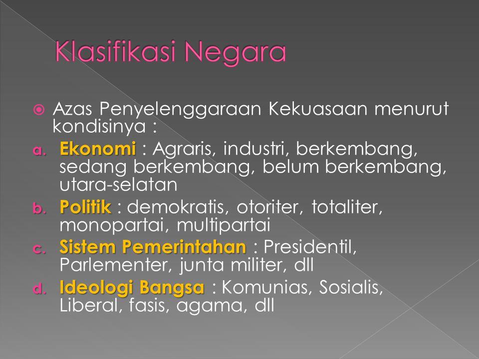 Klasifikasi Negara Azas Penyelenggaraan Kekuasaan menurut kondisinya :