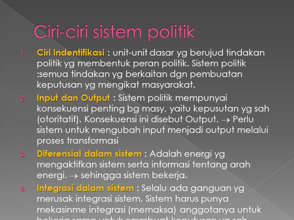 Ciri-ciri sistem politik