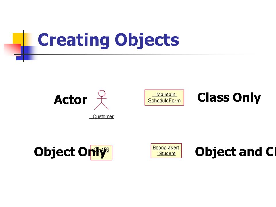 Creating Objects Class Only Actor Object Only Object and Class