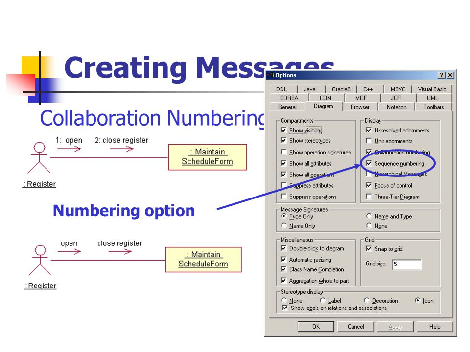 Creating Messages Collaboration Numbering Numbering option