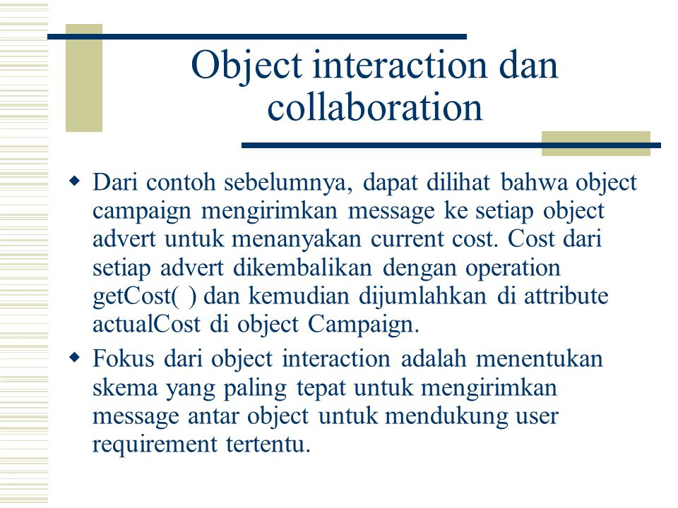 Object interaction dan collaboration