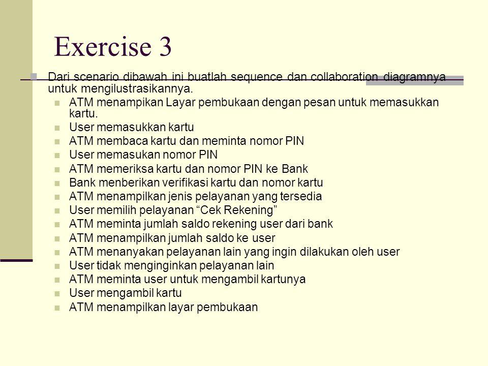 Exercise 3 Dari scenario dibawah ini buatlah sequence dan collaboration diagramnya untuk mengilustrasikannya.
