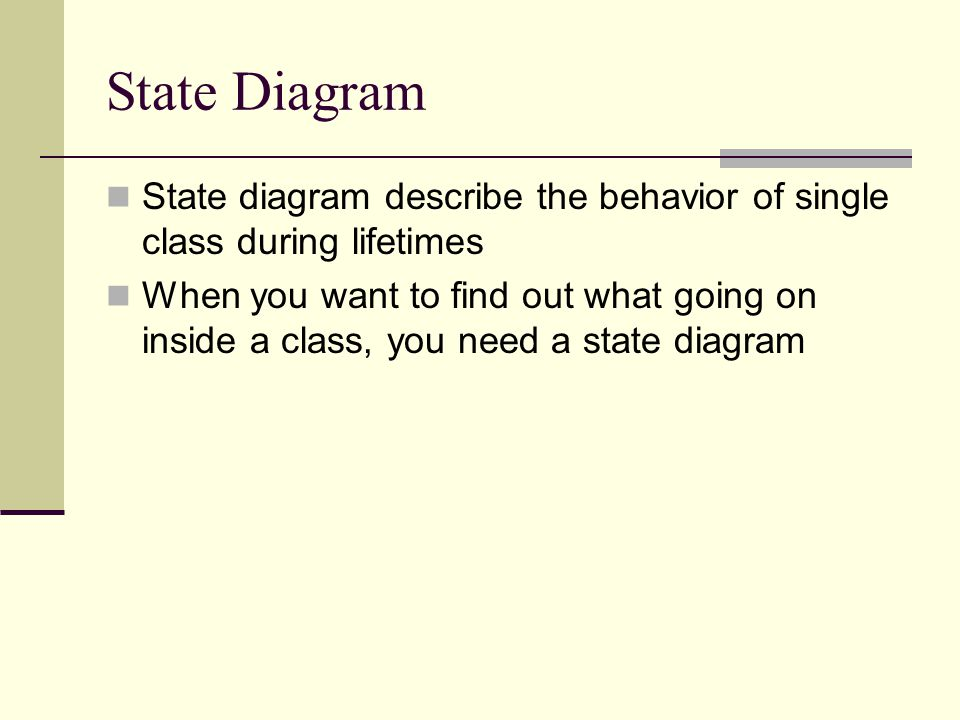 State Diagram State diagram describe the behavior of single class during lifetimes.