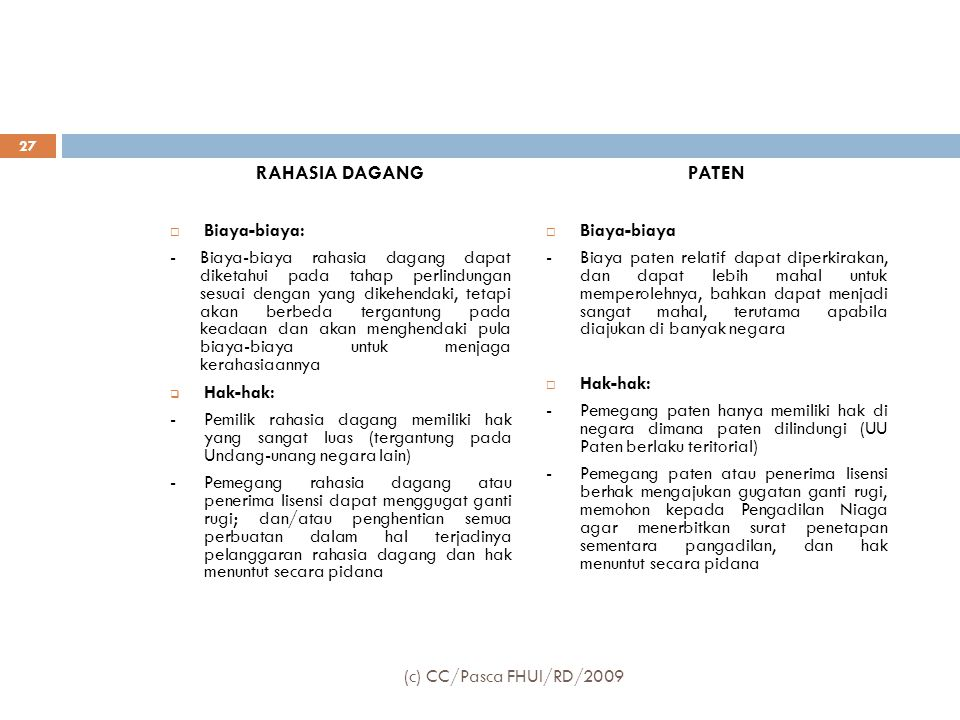 RAHASIA DAGANG PATEN Biaya-biaya: