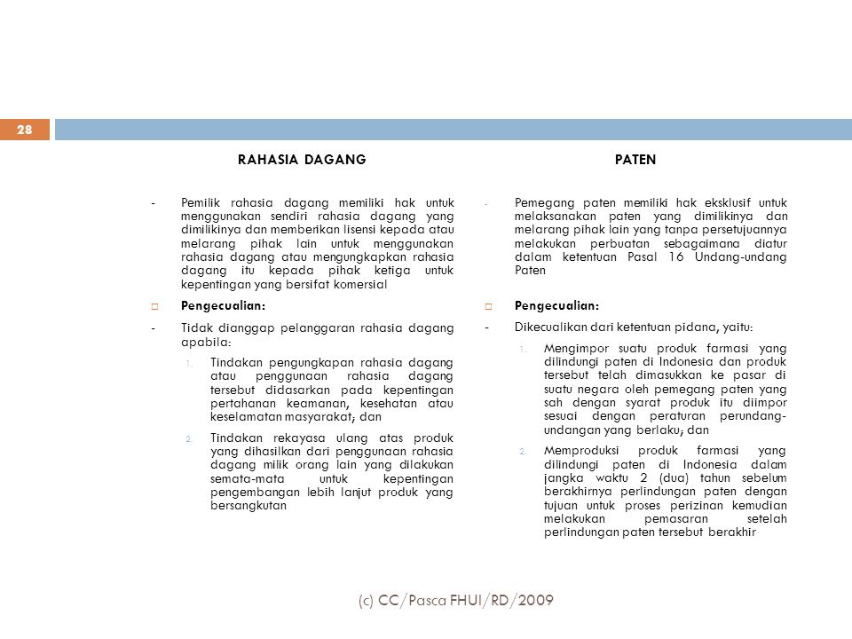 (c) CC/Pasca FHUI/RD/2009 RAHASIA DAGANG PATEN