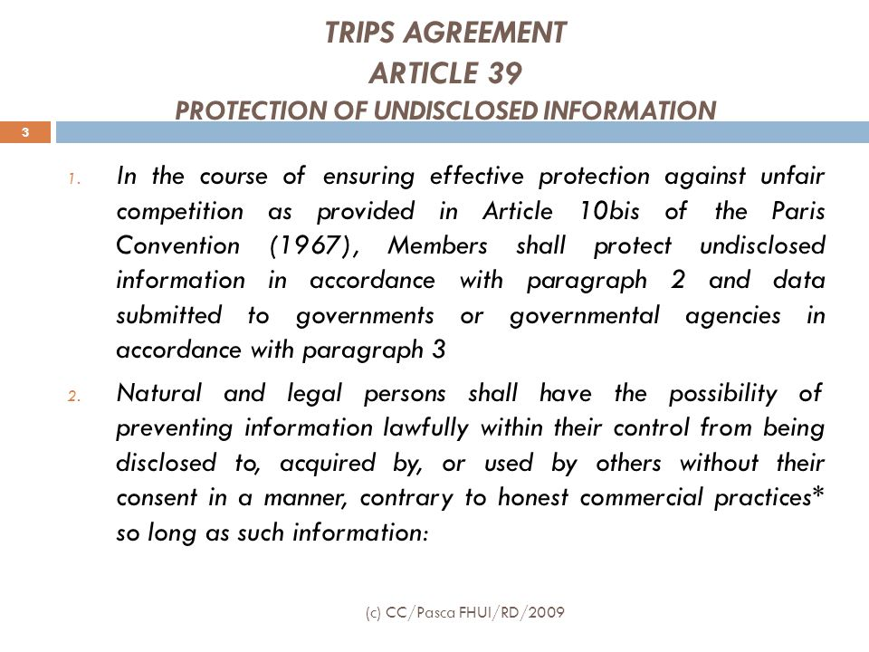 TRIPS AGREEMENT ARTICLE 39 PROTECTION OF UNDISCLOSED INFORMATION