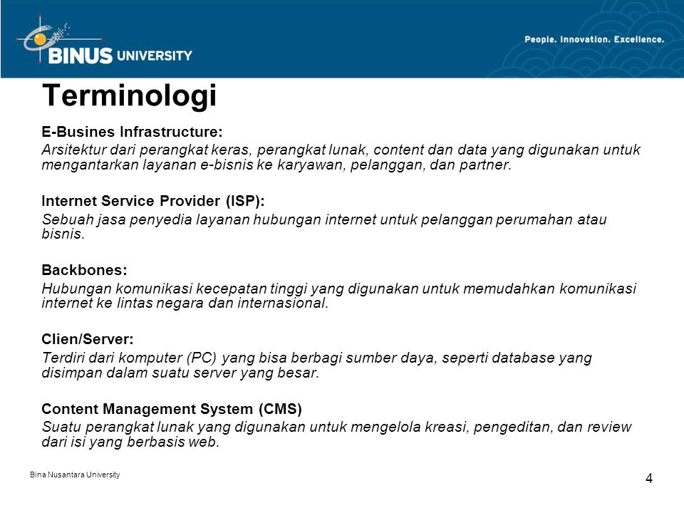 Terminologi E-Busines Infrastructure: