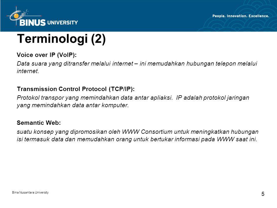 Terminologi (2) Voice over IP (VoIP):