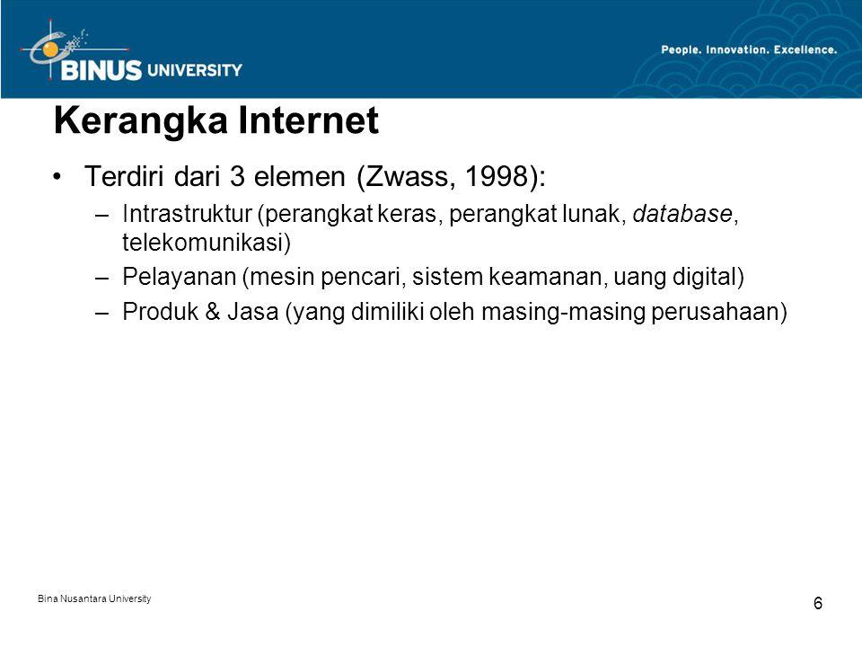 Kerangka Internet Terdiri dari 3 elemen (Zwass, 1998):